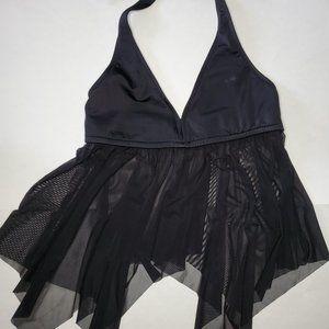 Venus black halter bikini top with mesh